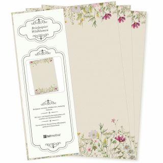 Wildblumen Briefpapier 20 Blatt DIN A4 90 g/qm beidseitig floral nachhaltig gedruckt