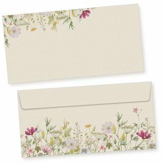 Wildblumen Briefumschläge  50 Stück DIN lang Umschläge selbstklebend ohne Fenster nachhaltig gedruckt