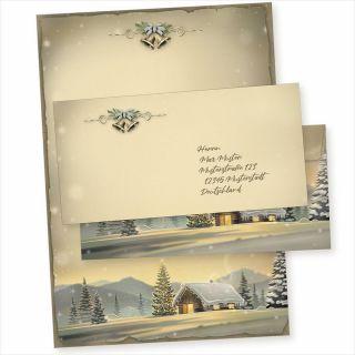 Glöcknerhütte 10 Sets Weihnachtsbriefpapier mit Umschlag ohne Fenster, Weihnachtspapier A4