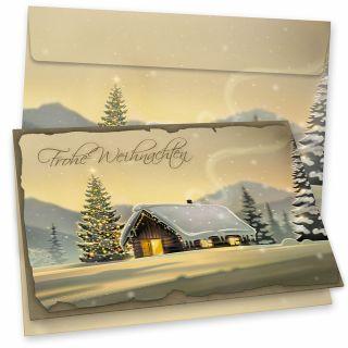 Glöcknerhütte Weihnachtskarten mit Umschlägen 16er SET Klappkarten DIN A6 traditionell, vintage, nachhaltig umweltfreundlich Recycling