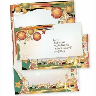 Art Deco 10 Sets Weihnachtsbriefpapier mit Umschlag ohne Fenster, Weihnachtspapier A4