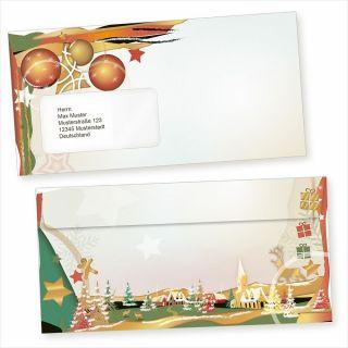 Art Deco 50 Weihnachts-Briefumschläge Din lang mit Fenster Umschläge für Weihnachten selbstklebend haftklebend