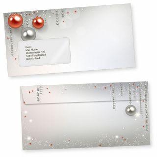 Gala Design 50 Weihnachts-Briefumschläge Din lang mit Fenster Umschläge für Weihnachten selbstklebend haftklebend