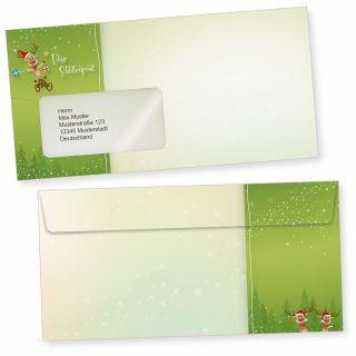 NEU Rentiere 50 Weihnachts-Briefumschläge Din lang mit Fenster Umschläge für Weihnachten selbstklebend haftklebend