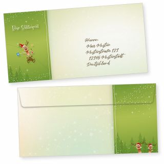 NEU Rentiere 50 Weihnachts-Briefumschläge Din lang ohne Fenster Umschläge für Weihnachten selbstklebend haftklebend