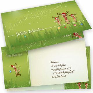 LUSTIGE RENTIERE Weihnachtskarten 15er SET Klappkarten DIN lang mit Umschlag, grün, Design by Tatmotive