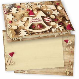 JULFEST Weihnachtskarten 16er SET Klappkarten DIN A6 mit Umschlag traditionell, nordisch vintage, nachhaltig umweltfreundlich Recycling