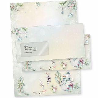 Flöckchen 10 Sets Weihnachtsbriefpapier mit Fensterumschlag, Briefpapier Weihnachten A4