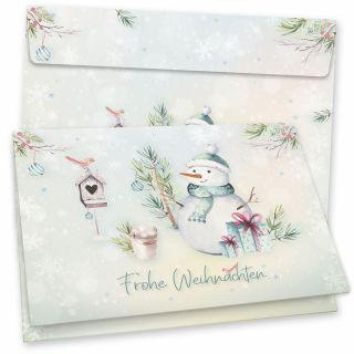 Flöckchen Weihnachtskarten 16er SET Klappkarten DIN A6 mit Umschlag traditionell, vintage, nachhaltig umweltfreundlich Recycling