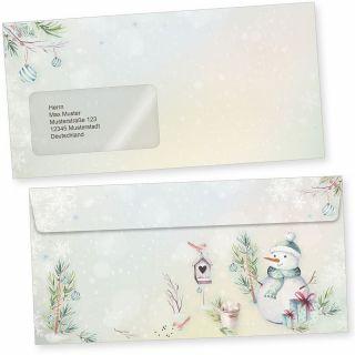 Flöckchen 50 Weihnachts-Briefumschläge Din lang mit Fenster Umschläge für Weihnachten selbstklebend haftklebend