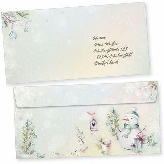 Flöckchen 50 Weihnachts-Briefumschläge Din lang ohne Fenster Umschläge für Weihnachten selbstklebend haftklebend