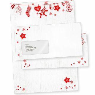 Julfest 10 Sets Weihnachtsbriefpapier mit Fensterumschlag, Briefpapier Weihnachten A4 nordisch schwedisch