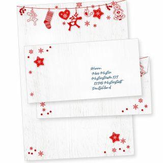 Julfest 10 Sets Weihnachtsbriefpapier mit Umschlag ohne Fenster, Weihnachtspapier A4 nordisch, schwedisch