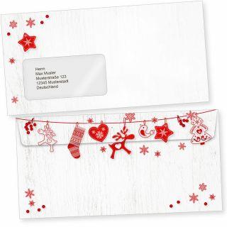 Julfest 50 Weihnachts-Briefumschläge Din lang mit Fenster Umschläge für Weihnachten selbstklebend nordisch, schwedisch