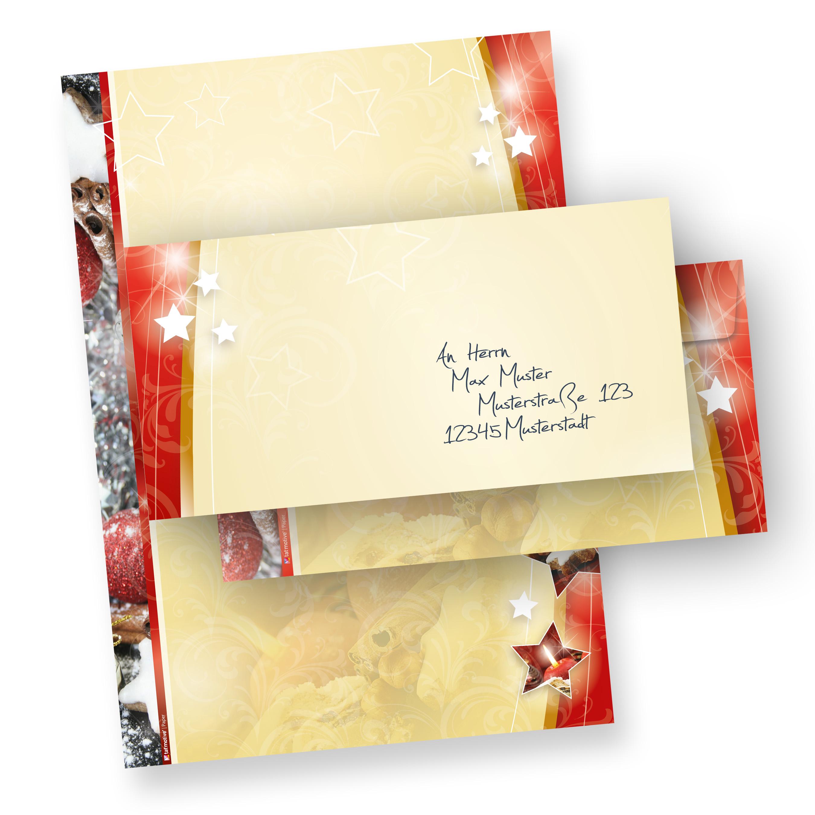 Weihnachtsbriefpapier Lebkuchen Set 2-seitig (10 Sets ohne Fenster) mit Briefumschläge