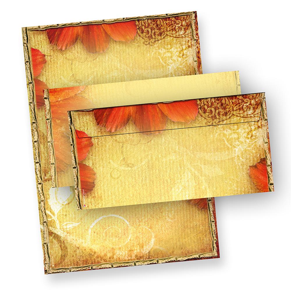 Blumen Antik Briefpapier (100 Sets mit passenden Umschlägen) Vintage Motivpapier Set Design DIN A4