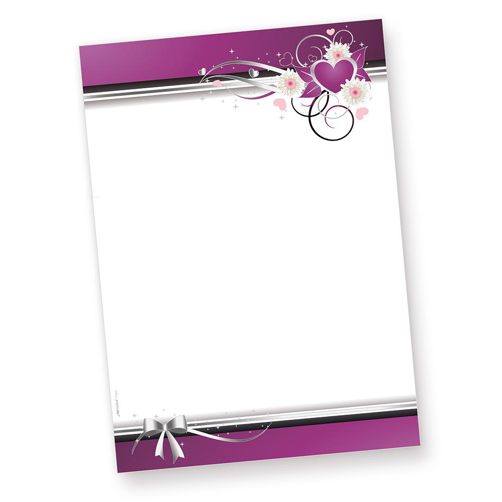 Herzen Briefpapier (50 Blatt) für romantische Liebesbriefe