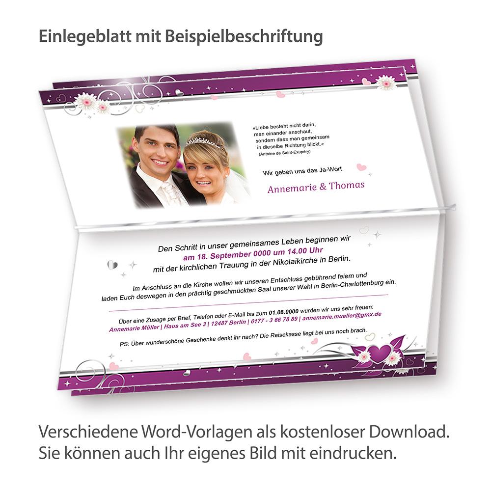 Einladung+Tischdeko Set Hochzeit Herzen (32 Gäste) Einladungskarten ...