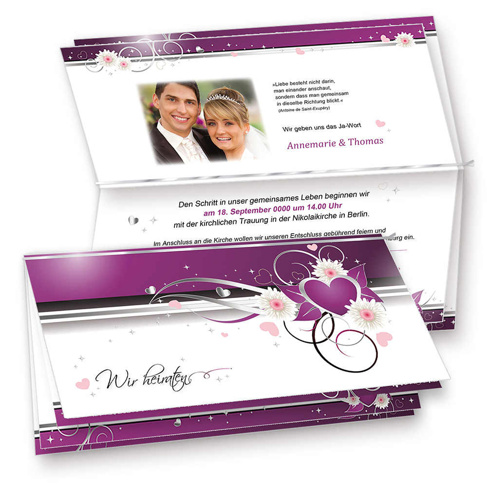 Hochzeitseinladungen Herz lila (40 Sets mit Umschläge)