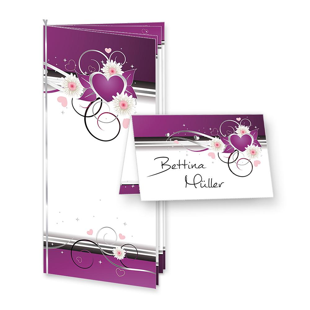 10 Menükarten Hochzeit lila Herzen (inkl. 40 Tischkarten)