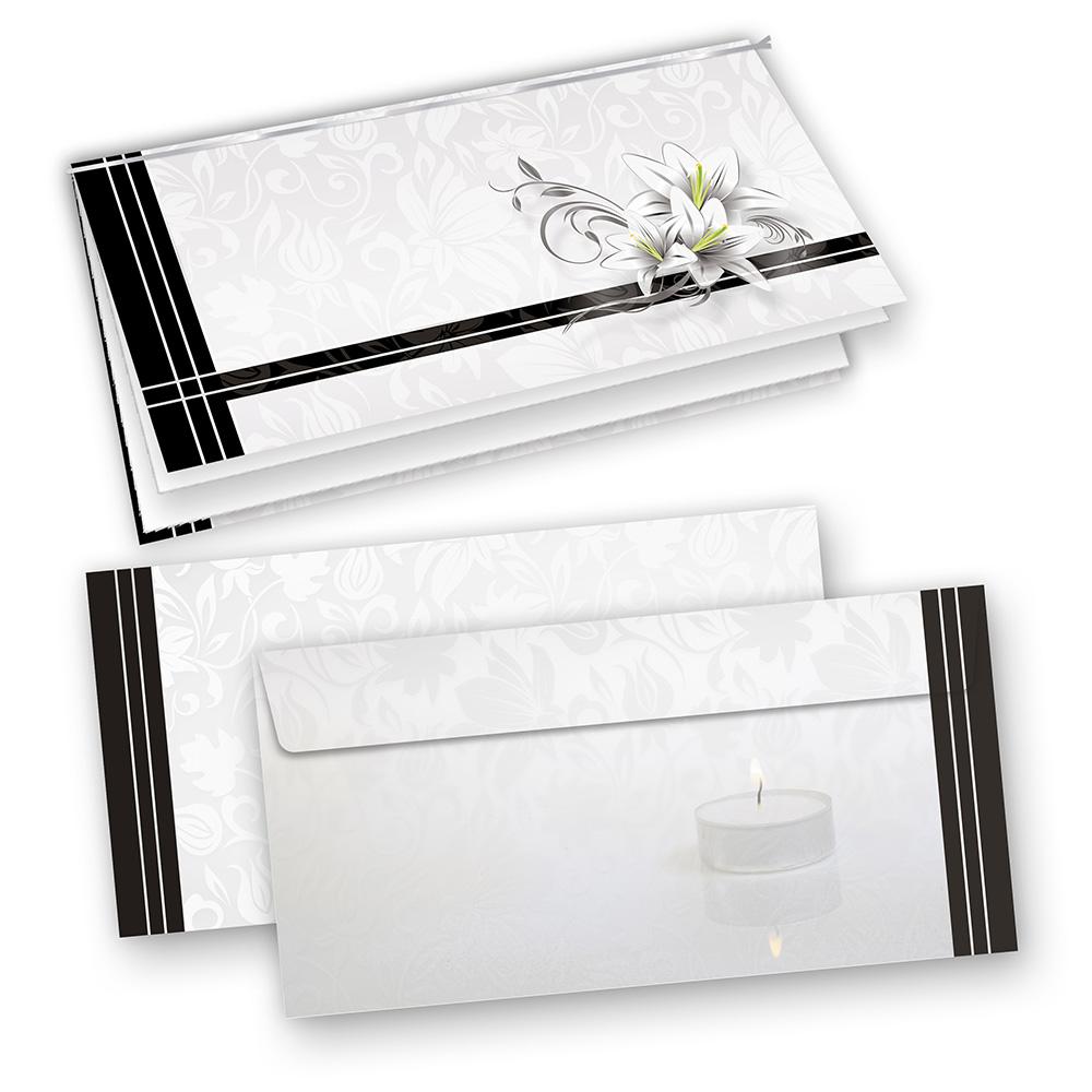 Trauerkarten (10 Sets) inkl. Umschläge mit Einlegeblatt zum Selbstbedrucken