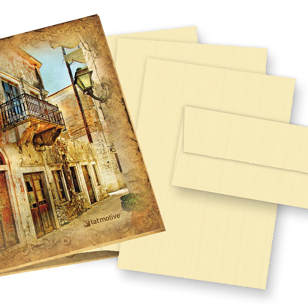 Büttenpapier Set wildgerippt elfenbein (24-tlg) Briefpapier Bütten