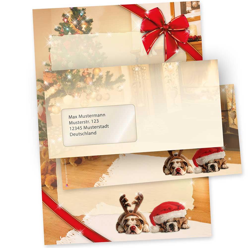 Motivpapier Weihnachten.Briefpapier Weihnacht Witzige Hunde 10 Sets Fensterumschläge Qualitätspapier