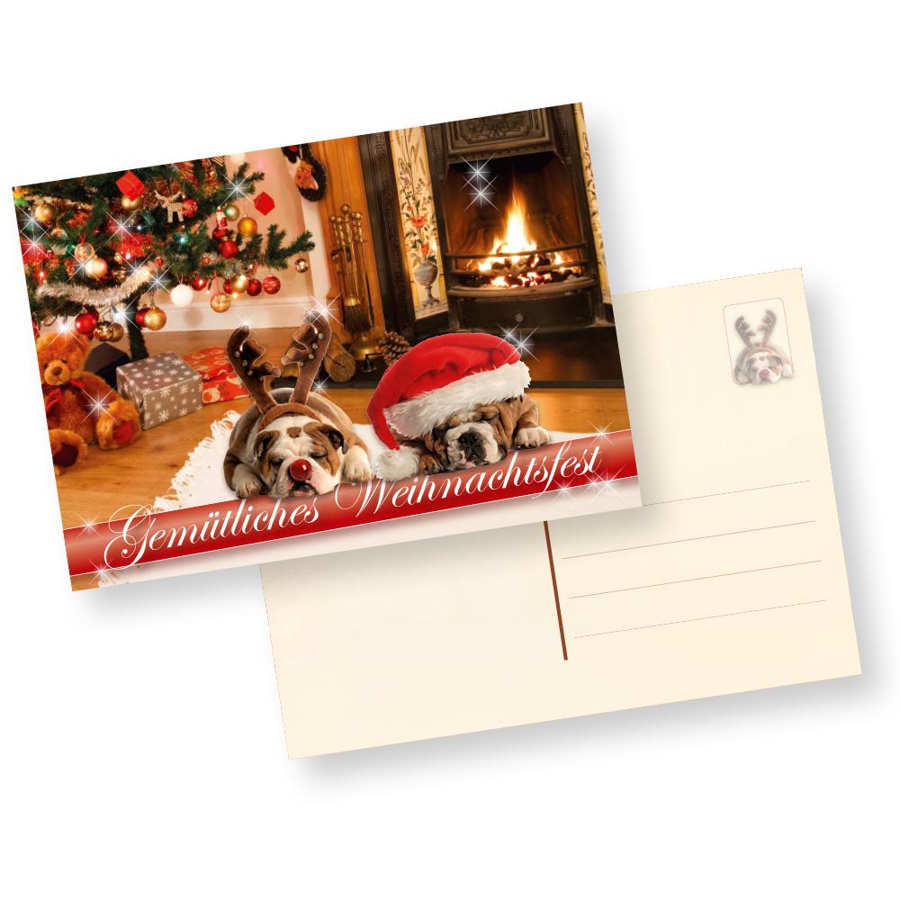 Postkarten Weihnachten Drollige Hunde (100 Stück) Gemütliche Weihnachtspostkarten mit Hundemotiv