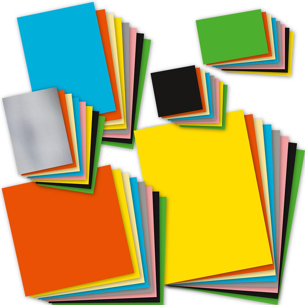 Bastelpapier Mix (8 Formate, gesamt 240 Blatt) gemischt Sammlung verschiedene Farben Set Papier basteln