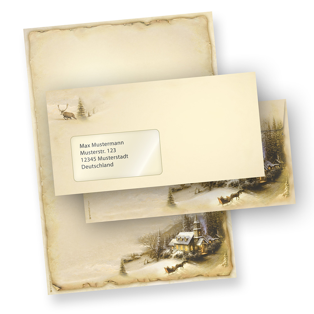 Briefpapier Weihnachten Winteridylle (100 Sets mit Fensterumschläge)