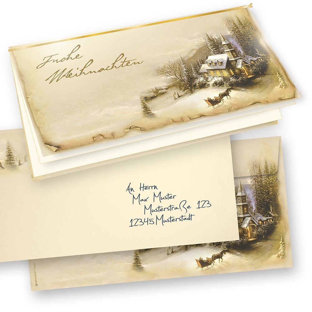 Nostalgische Weihnachtskarten Kostenlos.Weihnachtskarten Nostalgie Winteridylle 25 Sets Mit Umschläge Bedruckbar