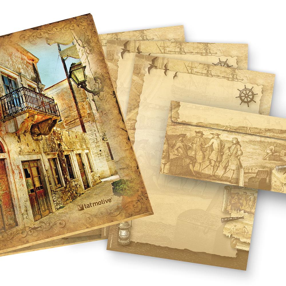 Briefpapier Set Piraten & Seefahrer (25 Sets) Geschenkset Mappe