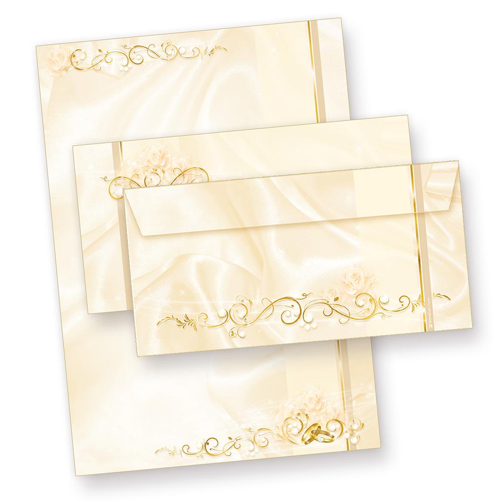 Briefpapier Hochzeit creme (100 Sets mit Umschläge) Motivpapier Set bestellen