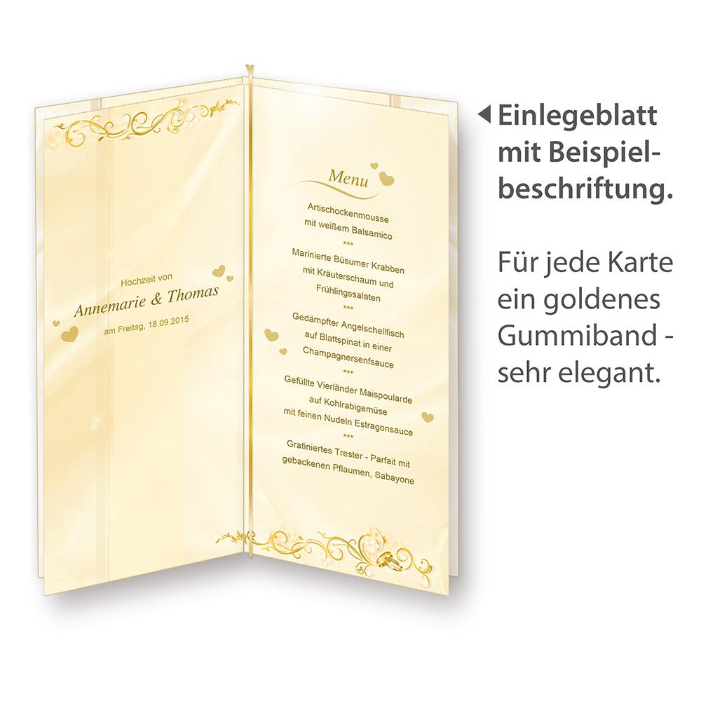 Menükarten Hochzeit PERLMUTT (16 inkl. 64 Tischkarten) creme gold ...