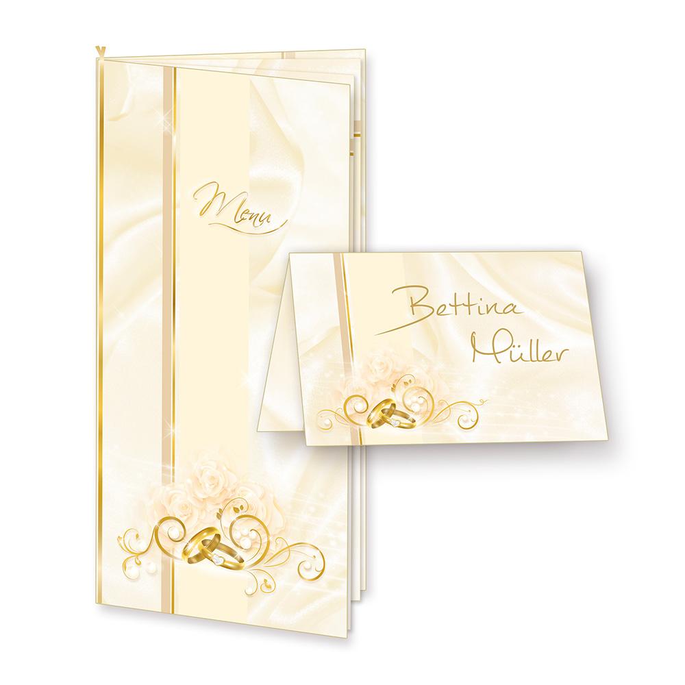 Menükarten Hochzeit PERLMUTT (16 inkl. 64 Tischkarten) - hinreissendes Set mit Klappkarten, Einlegeblätter zum Selbstbedrucken + Goldbänder und inkl. passender Tischkärtchen mit Gold-Lackstift zum selbst Beschriften