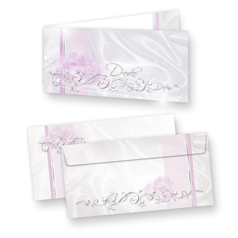 Danksagungskarten Hochzeit DE LUXE edel (20 Sets) Klappkarten mit Umschlag
