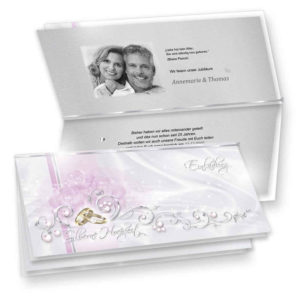 Einladungskarten Silberne Hochzeit edel zum Selbstbedrucken (20 Sets)