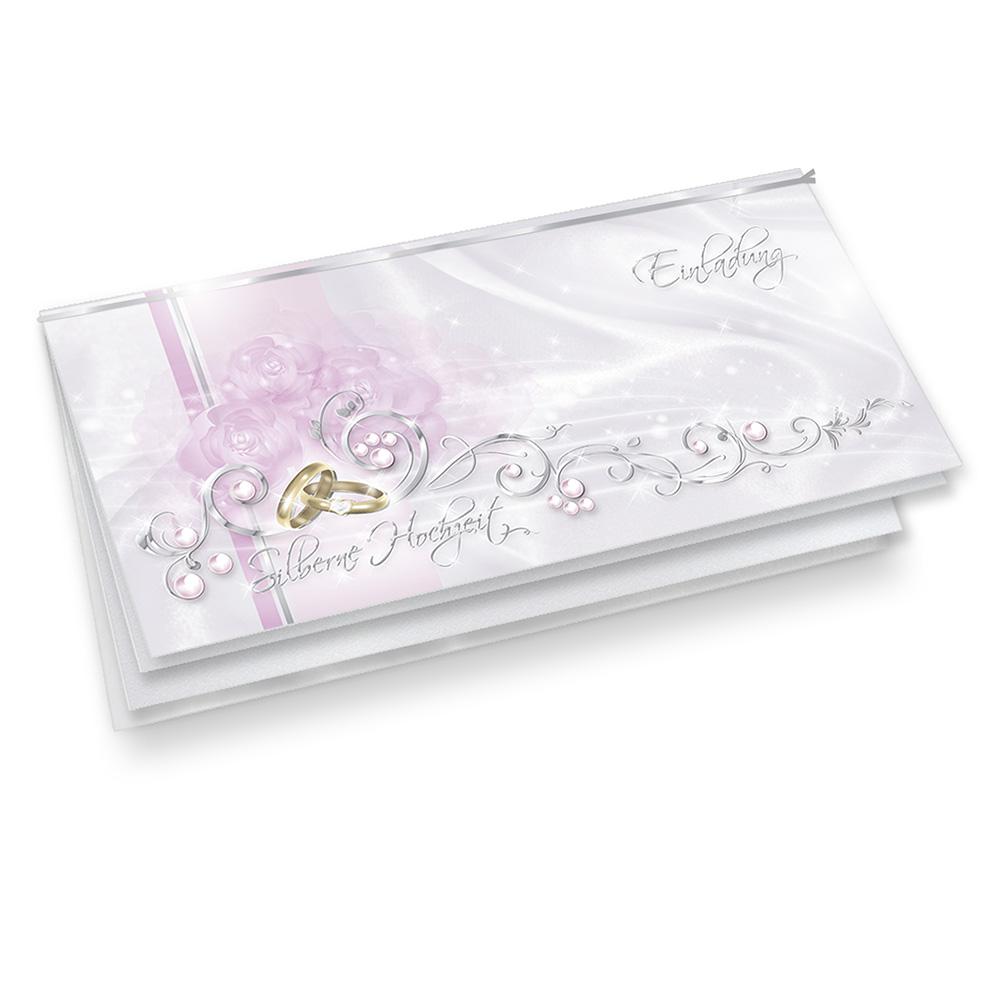 Einladungskarten Silberne Hochzeit (20 Sets) Einladung Silberhochzeit ...