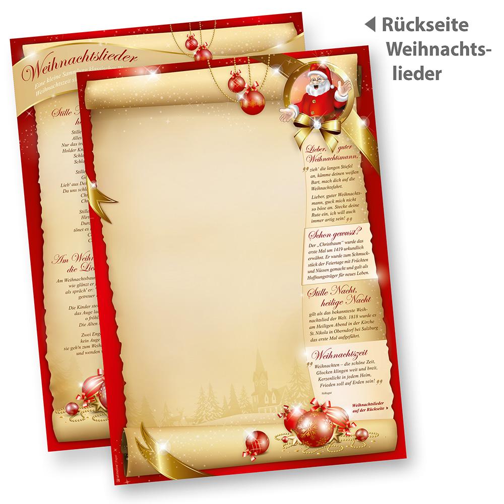 Weihnachten Briefpapier SANTA CLAUS beidseitig (100 Blatt)  mit Nikolaus