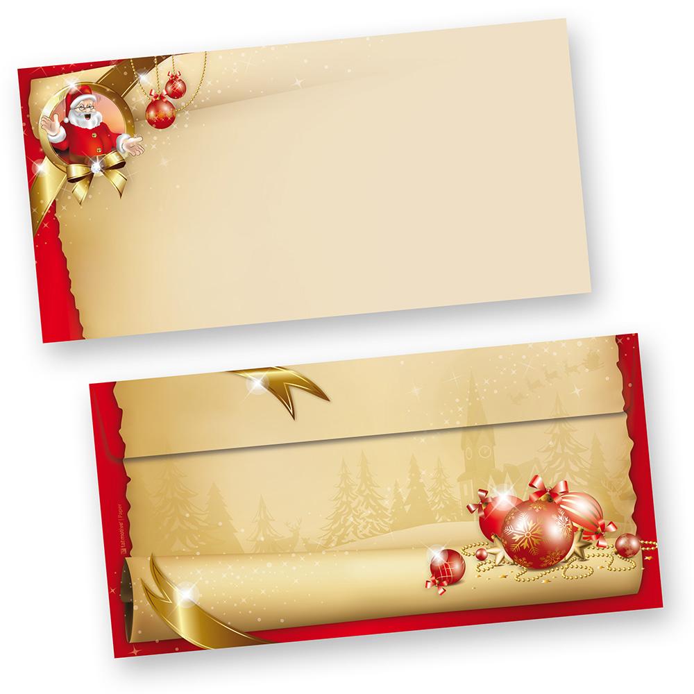 Briefumschläge Weihnachten Santa Claus (100 Stück ohne Fenster)