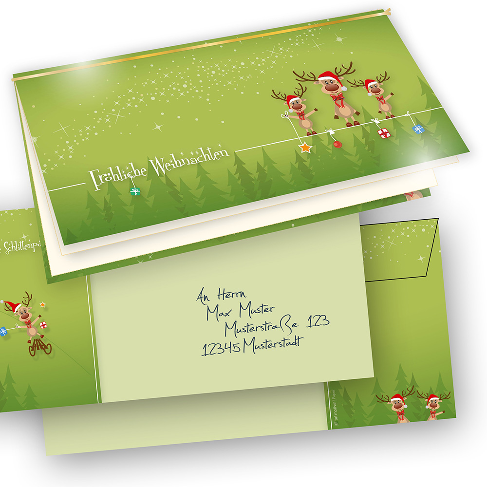Weihnachtskarten Bedrucken.Lustige Weihnachtskarten Rentiere 50 Sets Selbst Bedrucken