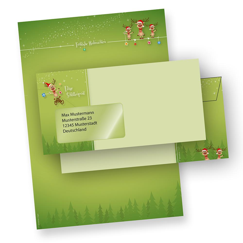 Briefpapier Weihnachten Set lustige Rentiere (100 Sets mit Fenster) mit Briefumschläge