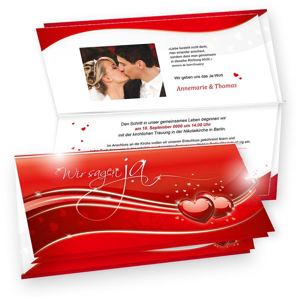 einladung zur hochzeit -rote liebe- 10 hochzeitskarten mit umschlag, Einladung