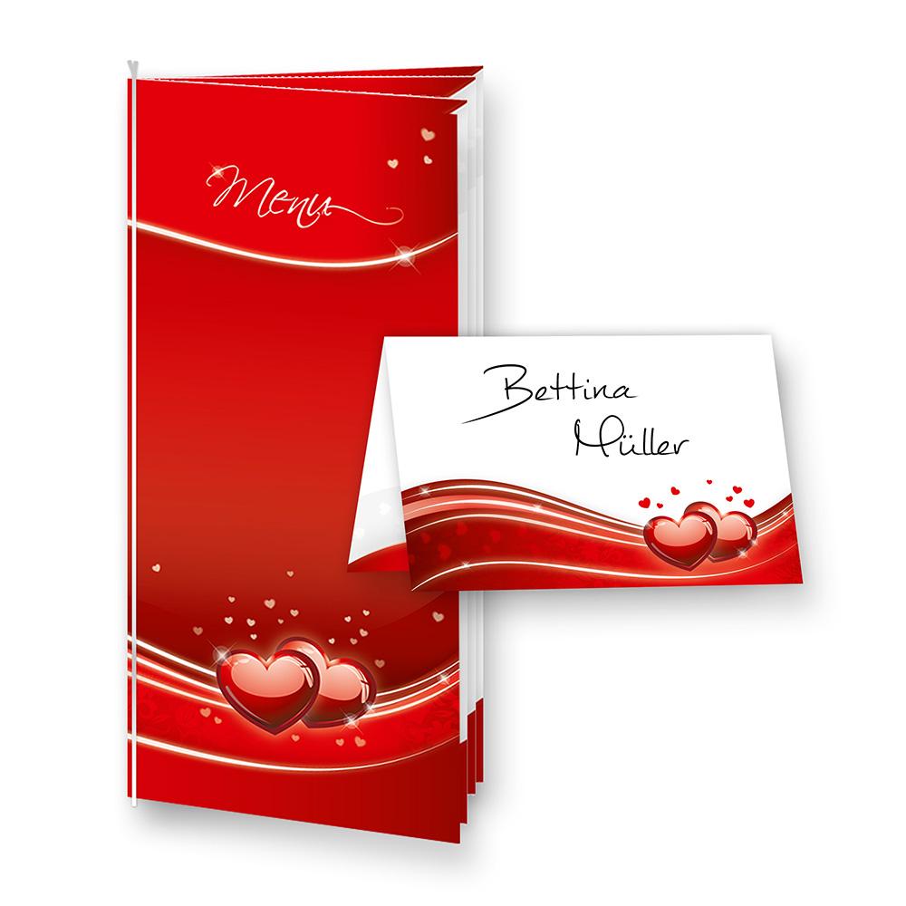 Menükarten Hochzeit Herz Liebe (8 inkl. 32 Tischkarten)