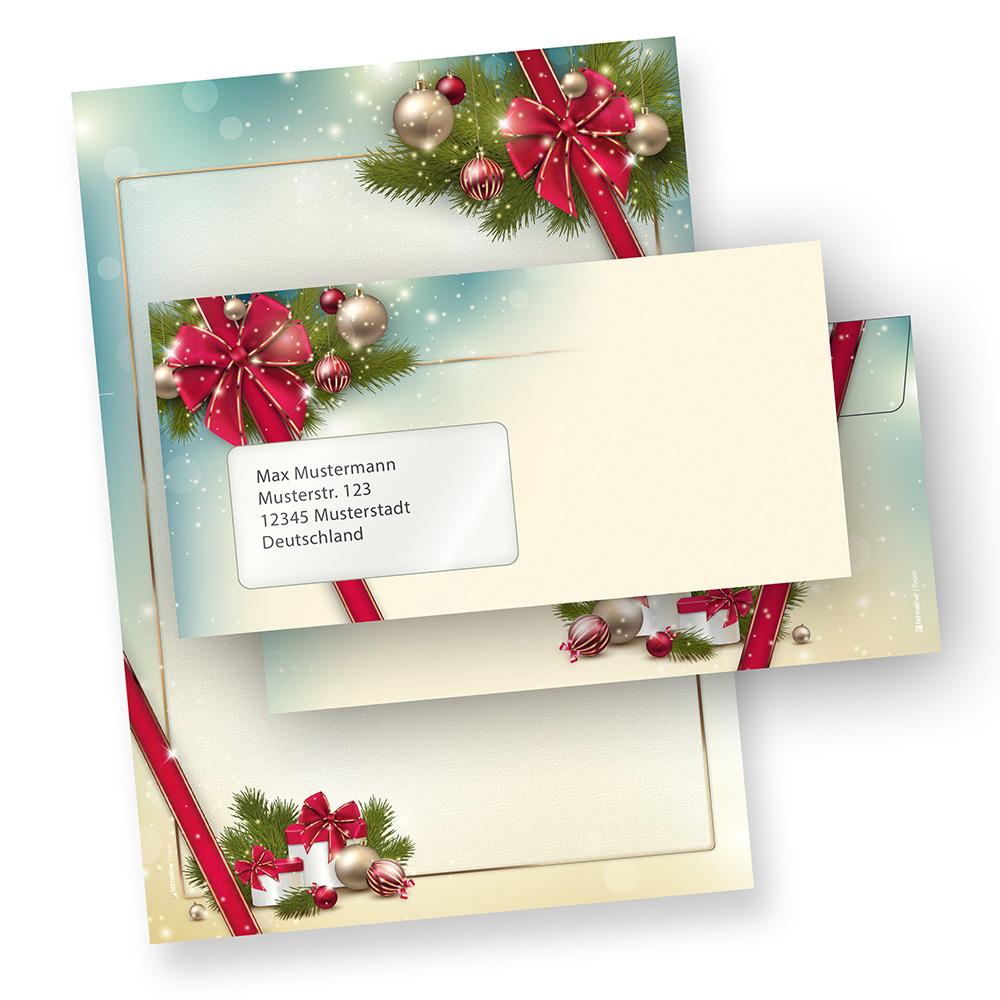 Briefpapier Weihnachten Set ROTE SCHLEIFE (250 Sets mit Fenster)  elegant mit Motiv