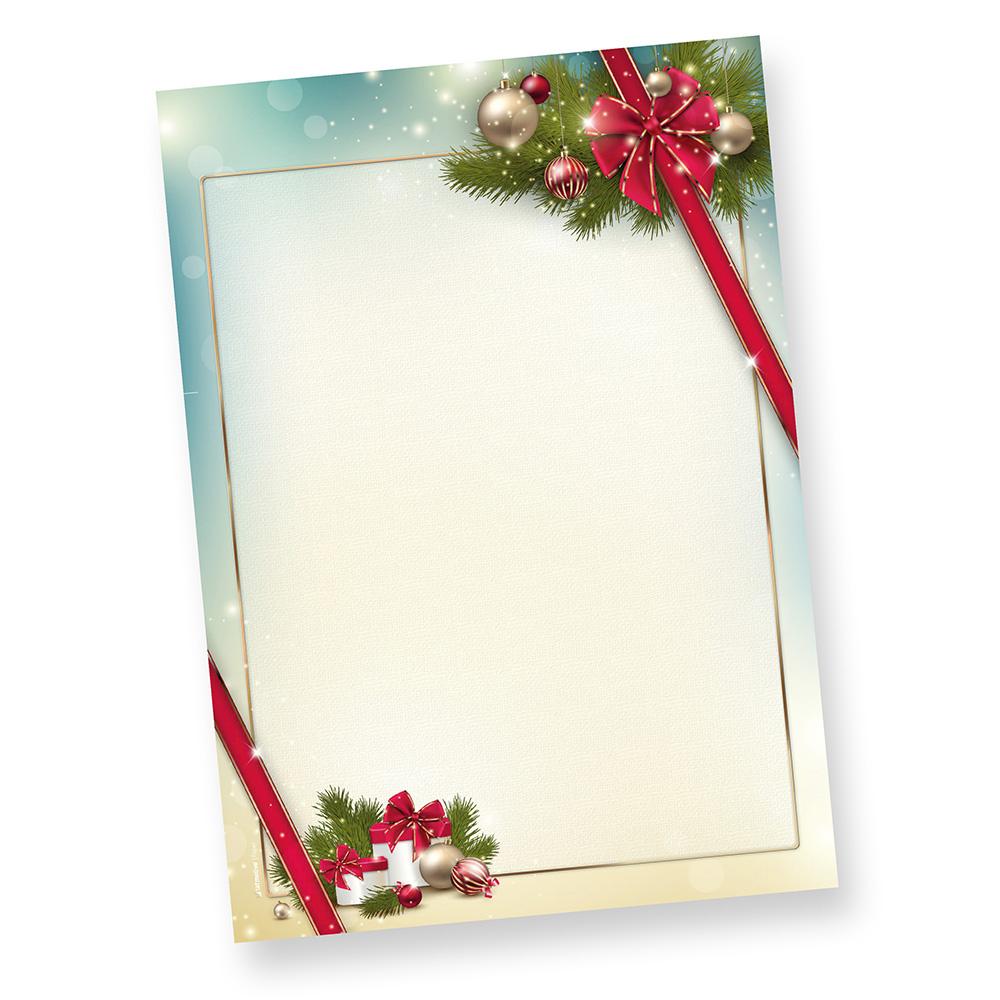 Briefpapier Weihnacht ROTE SCHLEIFE (1000 Blatt)  elegant mit Motiv