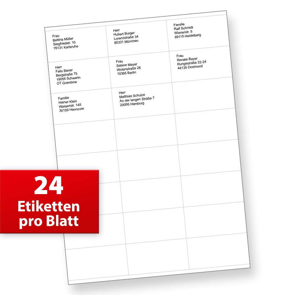 FIX Adressaufkleber (70 x 36 mm, 1.200 Stück) auf 50 Blatt je 24 Etiketten, für Briefe, INTERNETMARKE uvm.