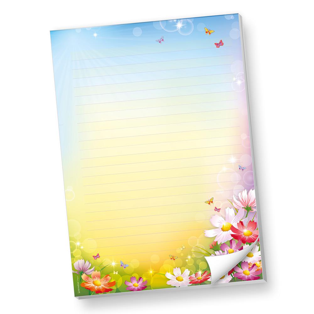 Schreibblöcke DIN A4 liniert Florentina (4 Stück) Briefpapier-Block bunt mit herlichen Blumen