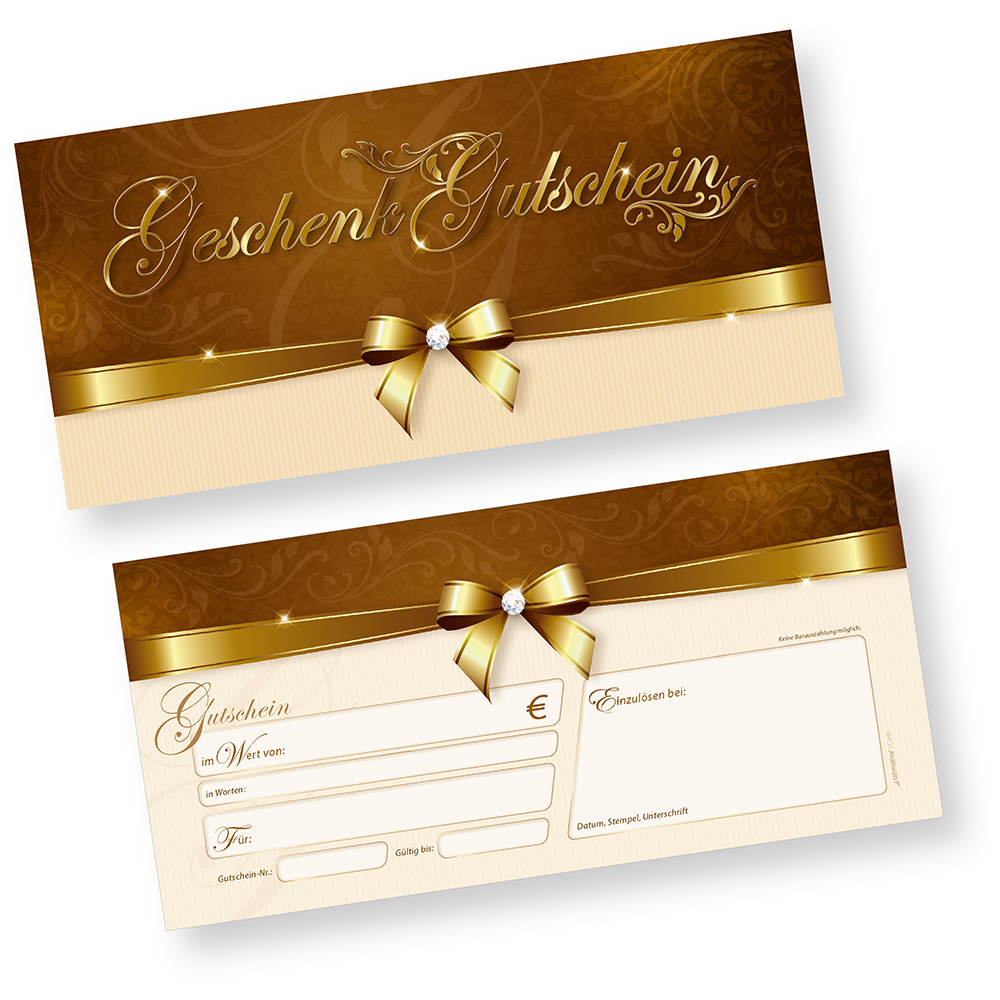 Geschenkgutscheine für Kunden (100 Stück) für Einzelhandel Gewerbe zum Selbst beschriften