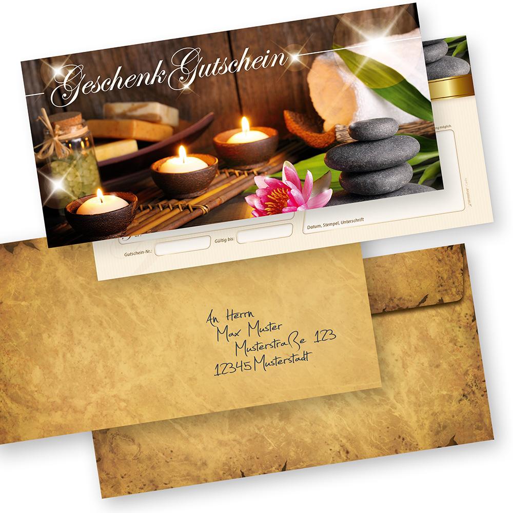 Geschenk-Gutscheine Beauty (50 Stück mit Umschläge) einfach Werte eintragen + Stempel, für Massage & Wellness